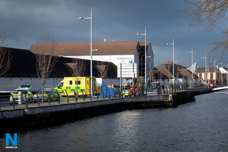 Emergency crew at the scene of an incident on Buttercrane Quay in Newry. Photograph: Columba O'Hare/ Newry.ie