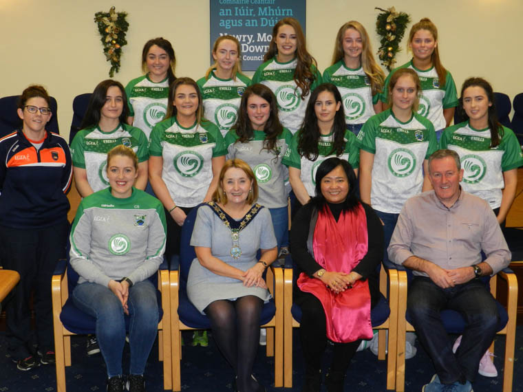 The Civic Reception for Shane O'Neill's Ladies Football team at the Council offices in Newry..