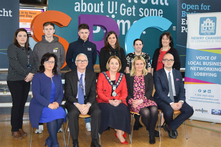 Pictured at the Big Apprenticeship event in Newry were back from left: Sylvia Moorehead (SRC - Business Support), Andrew Watson (Higher Level Apprentice with Ernst and Young – Belfast), Stephen McDowell (Level 3 Joinery Apprentice with MJM Group), Niamh McCartan (HR Generalist – Rockwell Collins), Michelle Flynn (Learning and Development Officer – Rockwell Collins), Michelle Billham (SRC – Business Support). Front from left: Dr. Lillian Cromie (Director of Science and Qualified Person, Norbrook Laboratories), Terry McGonigal (SRC - Director for Finance and Planning), Councillor Roisin Mulgrew (Chairperson of Newry, Mourne and Down Council), Mary Meehan (CEO – Newry Chamber of Commerce and Trade) Stuart Moore (Higher Level Apprentice with Ernst and Young – Belfast)
