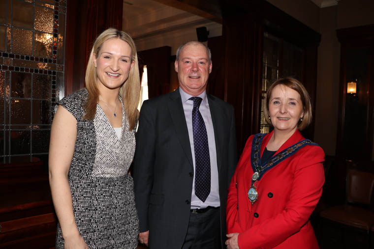 Irish Minister for European Affairs Helen McEntee is welcomed by Newry, Mourne and Down District Council Chief Executive, Liam Hannaway and Chairperson, Councillor Roisin Mulgrew to the meeting with border councils, hosted by Newry, Mourne and Down District Council.