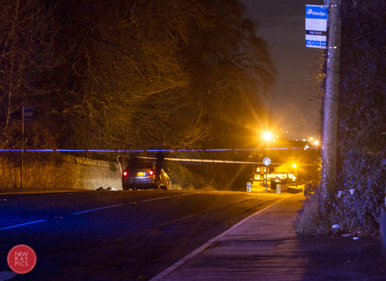 The scene of a road traffic incident on the Camlough Road, Newry. Photograph: NewRayPics