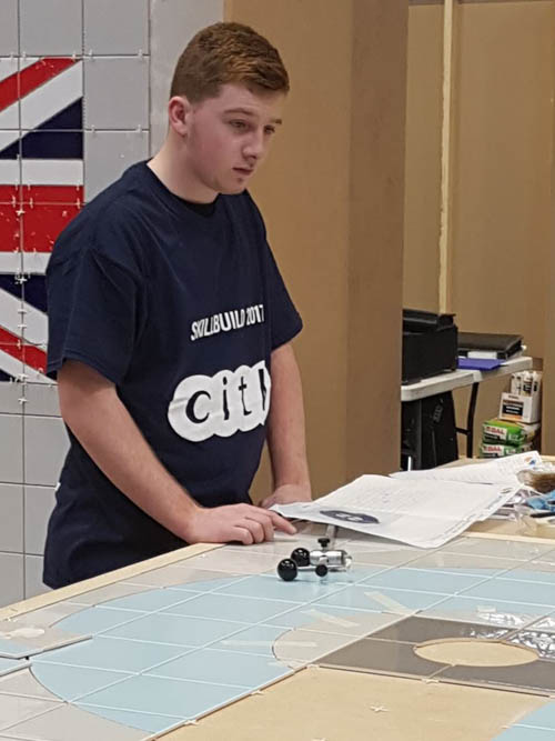 Cathal Muprhy competing at the UK WorldSkills finals who won silver in Wall and Floor Tiling.