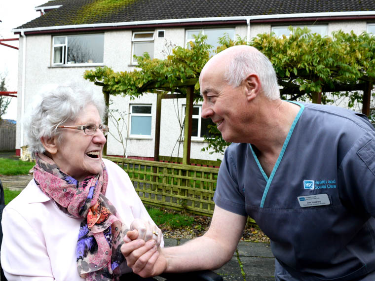 Cloughreagh Resident Mrs Hollywood with Residential Support Worker Jim Hughes.