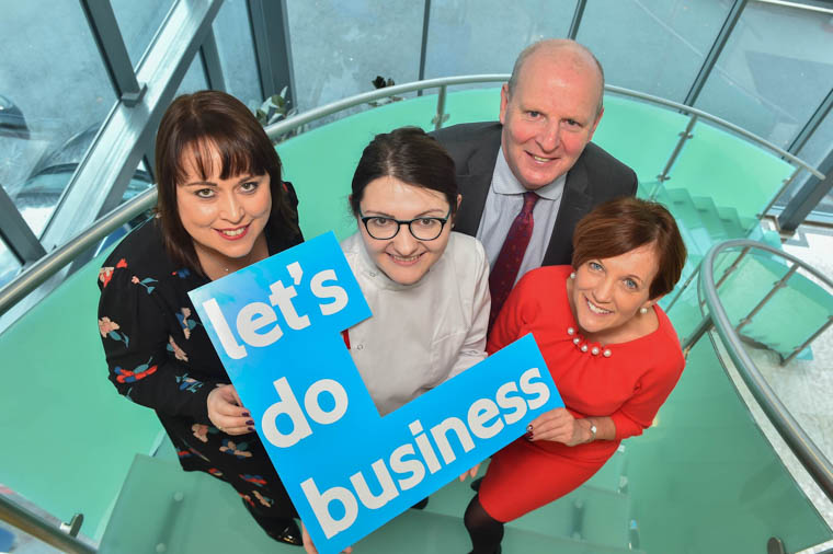 Elizabeth Moran (Training and Development Manager-Norbrook), Anne Clarke (Higher Level Apprentice- Norbrook and SRC), Brian Doran (Chief Executive- Southern Regional College), Beverley Harrison (Director of FE - Department for the Economy).