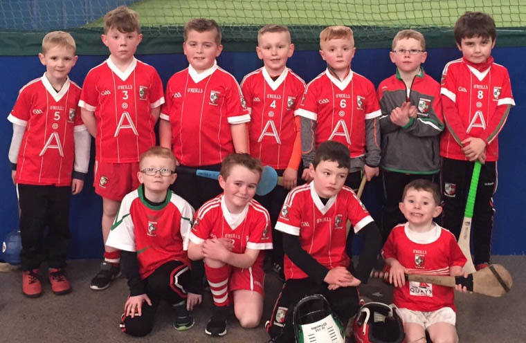 Craobh Rua Under 8 had a great day out recently  at the DKIT  indoor Hurling Blitz  with teams from Clonduff, Naomh Monnine, Blackrock & Keady on our group. Míle Buíochas to organisers and all who helped with transport. Pictured are players From Craobh Rua Under 8 Panel Who Participated.