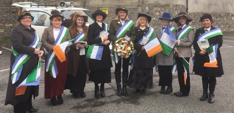 A Group of ladies at the Newry Commemoration  celebrating the centenary of the granting of the vote for women