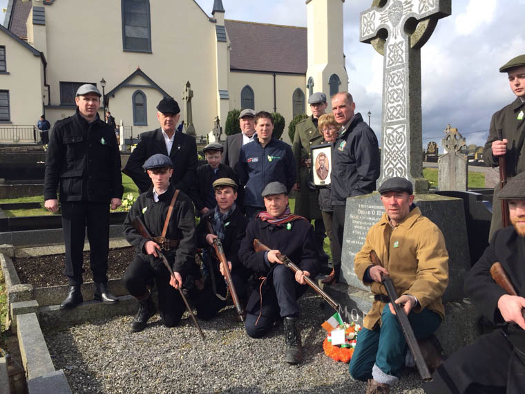 At Crossmaglen  IRA Volunteer Barney Morris died 95yrs ago on Easter Sunday and locals participated in a pagentary to commemorate the anniversary