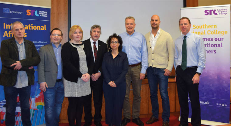 Paul Moorehead, Creative Director (Kettle of Fish CIC, NI), Dmitrijs Zverevs, Head of the Board (Radosas Iniciativas Centrs, Latvia), Caroline Coleman, Community Development Officer (SRC), Mickey Brady, MP Newry and Armagh, Brunella Maio, International Relations (CONFORM S.C.A.R.L, Italy), Björn Bertilsson, International Relations Officer (Mottagningsenheten Adjunkten, Sweden), Andreas Persson, Head of Reception Unit (Mottagningsenheten Adjunkten, Sweden), David Vint, Assistant Director, Community, Schools' Partnership and External Funding (SRC).