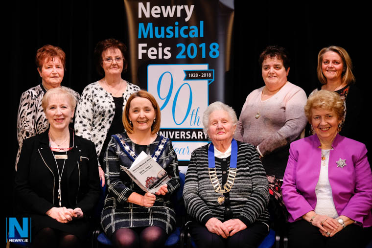 Opening the 90th Anniversary Newry Musical Feis at Newry Town Hall were front from left:  Dr Mary Goss, Administrator; Cllr Roisin Mulgrew, Chairperson, Newry, Mourne and Down District Council ; Alma Brown, President and Grainne McCormack, Adjudicator. Back: Sheila Nolan, Secretary; Catherine Kerin, Secretary, Speech and Drama Open; Maria Moan, Assistant Secretary Dancing and Ciara Moan-Wadsworth, Committee Member. Photograph: Columba O'Hare/ Newry.ie