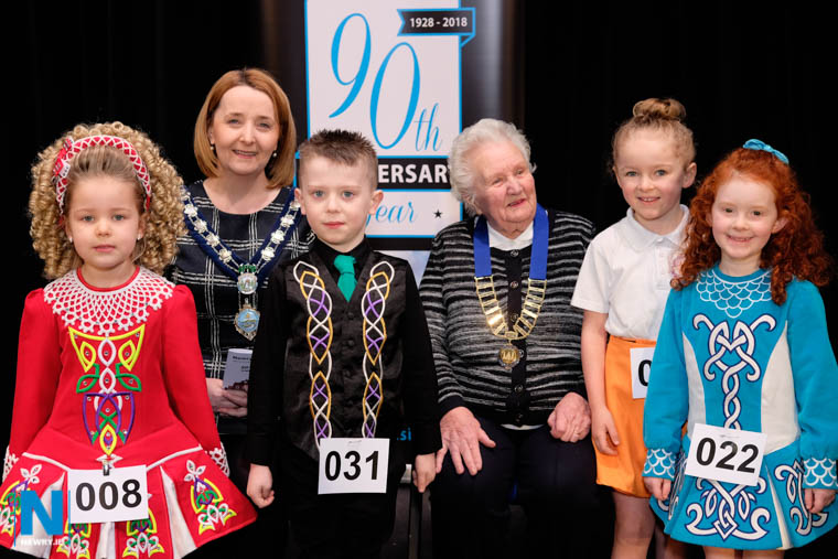 Cllr Roisin Mulgrew, Chairperson, Newry, Mourne and Down District Council and Alma Brown, President, Newry Musical Feis at the opening day of Newry Feis with some of the competitors. From left:Cailha Byrne, Ryan Devlin, Katie Ferris and Erin Sloan. Photograph: Columba O'Hare/ Newry.ie