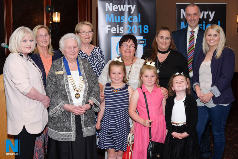 Alma Brown, 3rd from left, President, Newry Musical Feis pictured with her family. From left Siobhan Doran, Kate Curran, Pat Brown, Selina Smith, Ann Tremer, Cassie Smith, Aine Tremer, Jessica Tremer, Lowry Hodgett and Siobhan Curran. Photograph: Columba O'Hare