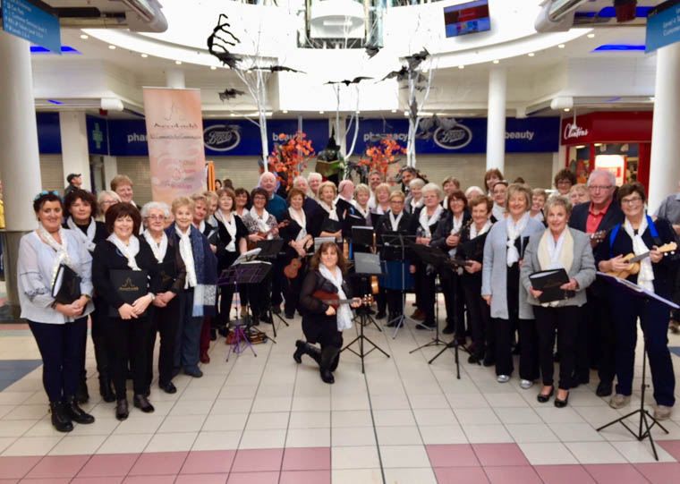 The Accolade Community Choirs from Newry and Banbridge and the Newry Accolade Ukulele Group on their trip to Derry.