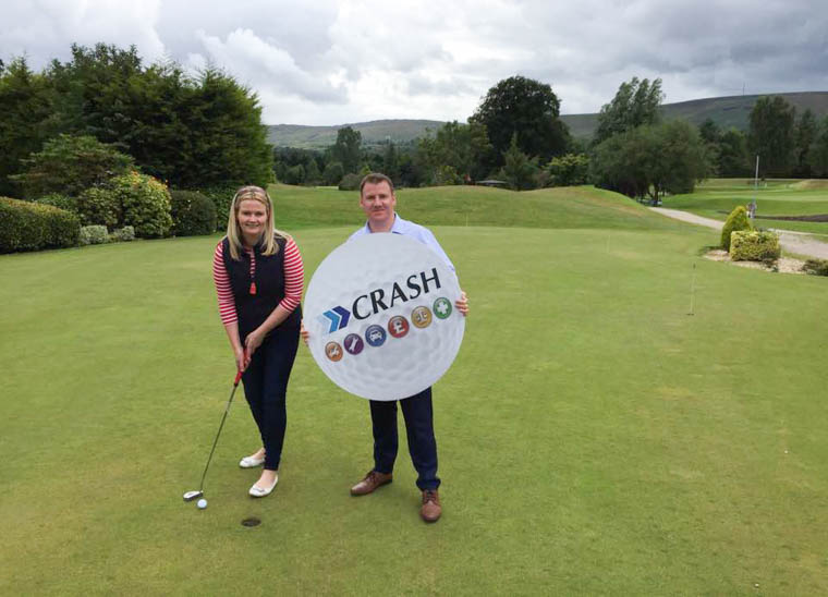 Mary Meehan, Newry Chamber and Tony McKeown, Crash Services get ready for the 2017 Golf Classic.