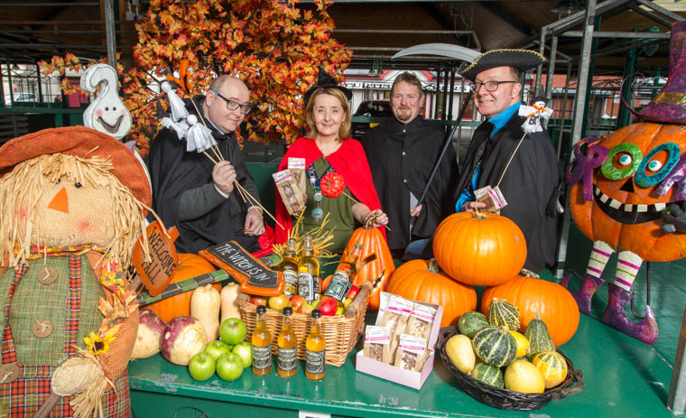 Newry, Mourne and Down District Council Chairperson, Councillor Roisin Mulgrew with market exhibitors who will be showcasing their wares at this year's Halloween Twilight Market in Newry.
