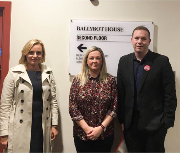 Cllr Oksana McMahon, Sinead Ennis MLA & Chris Hazzard MP at the Southern Trust Consultation event in Ballybot House, Newry.