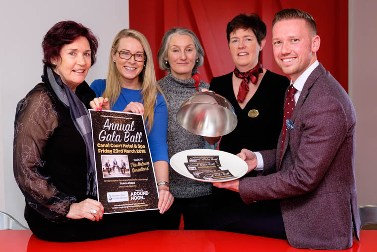 Photographed at the launch of the event from left to right are: Geraldine Loughran, Chairperson of the Dinner Dance Committee, Grainne Mulgrew, Southern Area Hospice, Patricia Freeman, Dinner Dance Committee, Louise Young, Canal Court Hotel and Gareth Chambers, CEO Around Noon. Photograph: Columba O'Hare