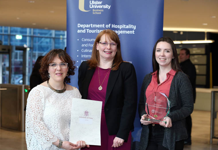 Catherine Jennings (right) and Sonya Rooney (left) receive their awards from Professor Una McMahon-Beattie, Ulster University Business School.