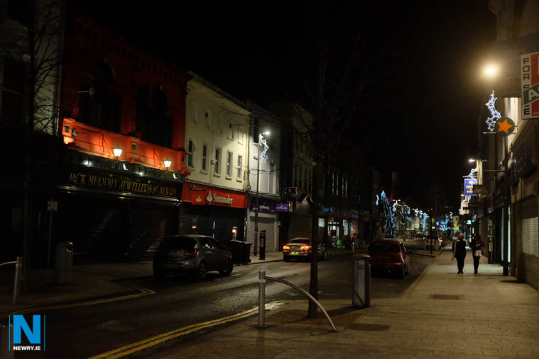 Hill Street in Newry with Christmas lights ablaze. Photograph: Columba O'Hare