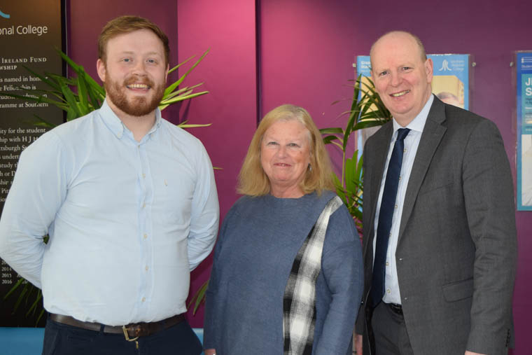 Matthew McKeown and Marilyn Warren pictured with Brian Doran, Chief Executive at Southern Regional College.
