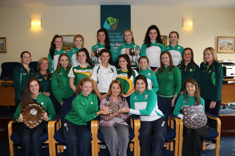 Chairperson Newry, Mourne and Down Council, Councillor Roisin Mulgrew hosts a Council Reception for the Sacred Heart Grammar School Intermediate and Senior Netball teams winners of the Northern Ireland League and Cup. Teams, coaches and front row l-r Ciara Byrne and Cristin Brown Captains of the Intermediate team, Emer Scullion and Alex Shortall Captains of the Senior Teams accept the inscribed crystal bowl from Council Chairperson.