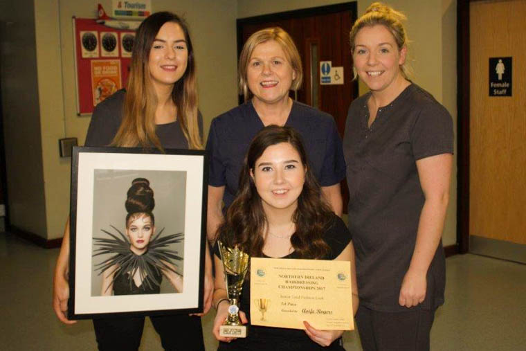 Aoife Rogers from Newry Campus with Hairdressing lecturers, Jane Heasty, Una Fitzpatrick and Laura Keenan.
