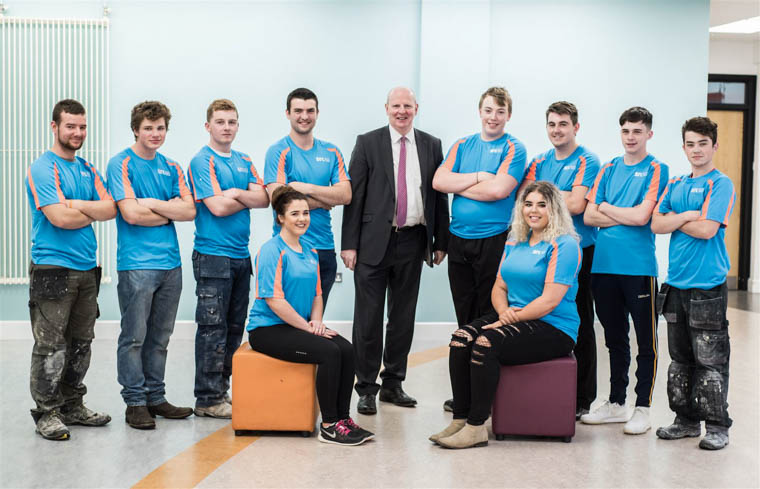 Brian Doran SRC Chief Executive along with UK WorldSkills competitors Daniel McBurney, Tommy Helliwell, Cathal Murphy, Richard Shannon, Ryan Finnegan, Kieran Cleverley, Glenn McArdle, Sean McLoughlin, Lauren McMahon and Niamh Leonard who will compete at the upcoming UK WorldSkills Finals.
