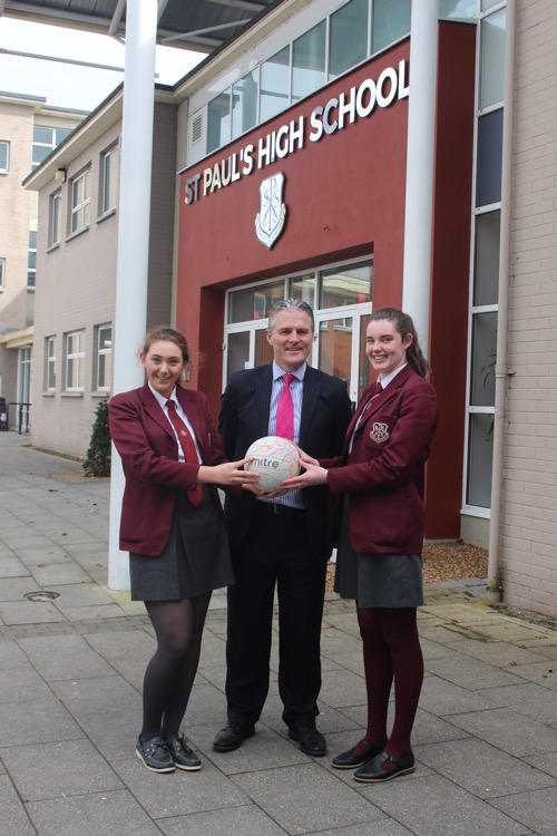 Mr Jarlath burns pictured with year 12 pupil Hannah Quinn and Year 14 pupil Rose Duffy in recognition of their selection on to the U21 Netball Northern Ireland National and Development Squads respectfully for the 2018-2019 season
