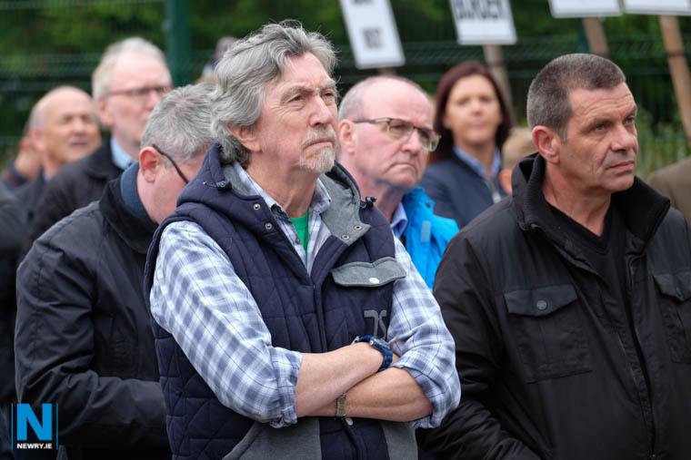 Mickey Brady, MP at a Brexit protest at Carrickarnon. Photograph: Columba O'Hare/ Newry.ie