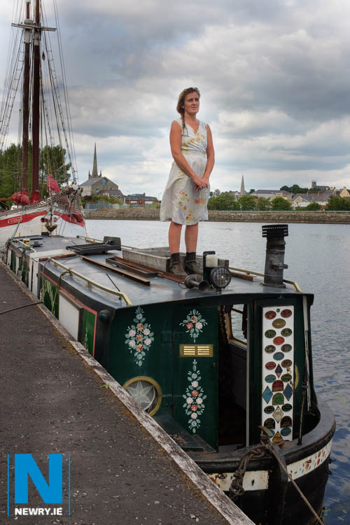 Lorraine Fox stands on her Sandwich Barge, moored at the Albert Basin in Newry, but four years on she still can't get a trading license. Photograph: Columba O'Hare/ Newry.ie