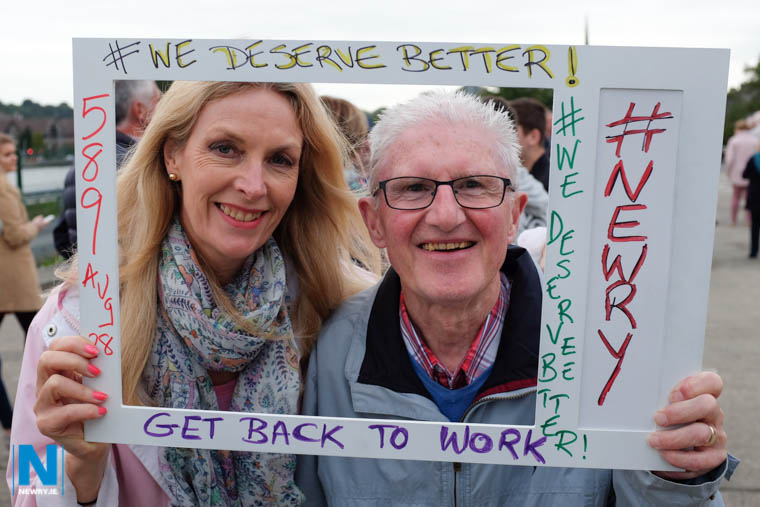 Proclaiming  'We Deserve Better' at the protest in Newry. Photograph: Columba O'Hare/ Newry.ie