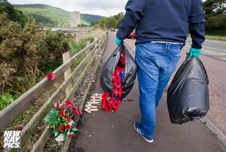 Less than 24 hours after the callus attack, locals took it upon themselves to clear up the scene and replace the wreaths