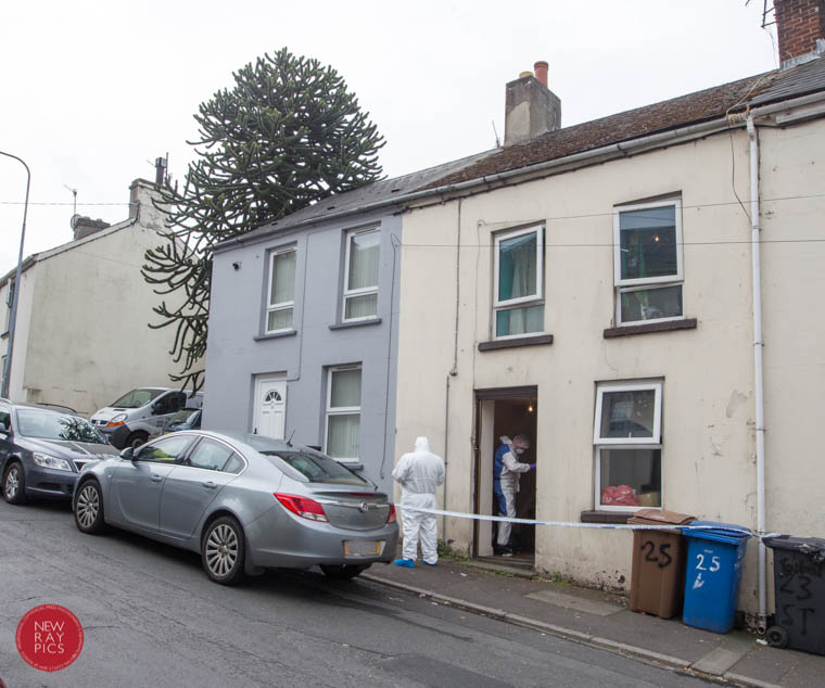 Forensics on the scene of the aggravated burglary at Talbot Street in Newry. Photograph: NewRayPics.com