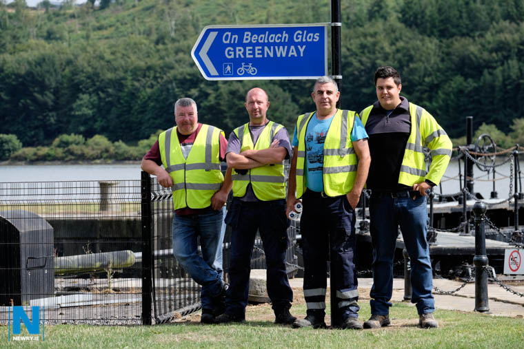 Workers on the new stretch of the Carlingford Lough Greenway between Victoria Lock and the Albert Basin in Newry. From left: Brendan McCabe, Mark Hughes and Danny Meagher, Canal Maintenence Squad and Shane Bonner, Contractor, Quinns Contractors. Photograph: Columba O'Hare/ Newry.ie