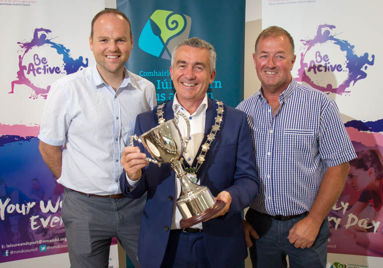 Connaire McGreevy, Chairman of Warrenpoint Town FC and Martin McLoughlin, Chairman of Newry City FC with the Chairman of Newry Mourne and Down District Council,  Cllr Mark Murnin . Photograph: NewRayPics.com