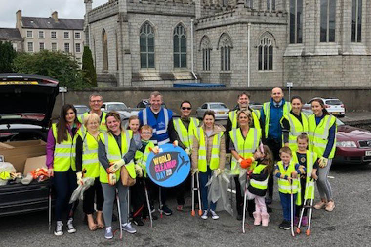 Participants in the Newry City Centre clean up for World Clean Up Day