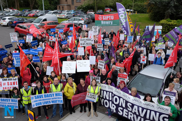 People power - This Daisy Hill protest attracted hundreds to the headquarters of the Southern Trust in 2017. Photograph: Columba O'Hare/ Newry.ie