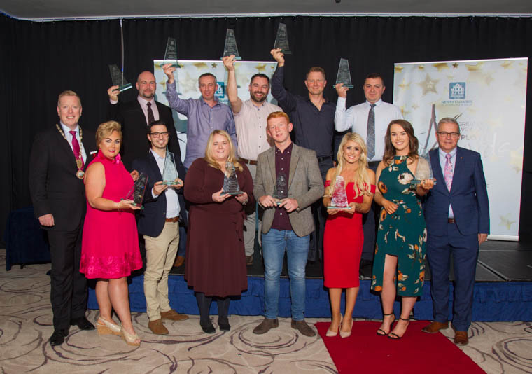 The Winners group photo with Paul Convery, President of Newry Chamber and Colm Shannon, CEO of Newry Chamber.