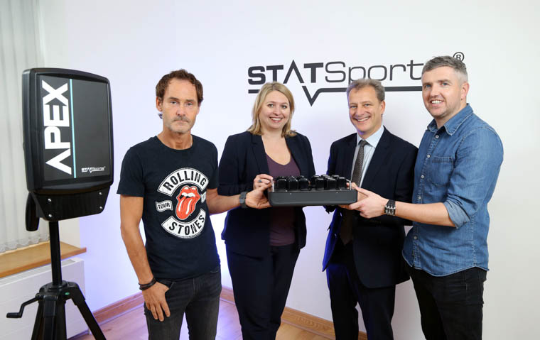 Statsports founders Alan Clark, left, and Sean O'Connor, right, are pictured with Jeremy Fitch, Invest NI and Secretary of State Karen Bradley.  Photograph: Kelvin Boyes / Press Eye.