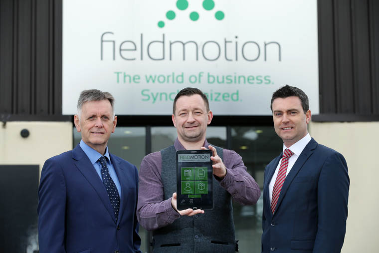 Mark Bleakney, Southern Regional Manager, Invest NI, Jim Finnegan, CEO Fieldmotion and Neil McCabe, Senior Investment Manager, Whiterock Capital Partners at the announcement of 14 new jobs for Fieldmotion. Photograph: Kelvin Boyes