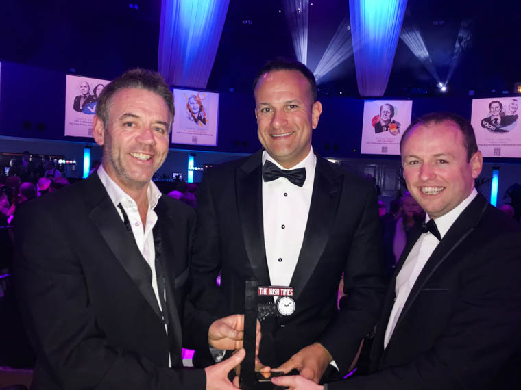 STATSports picked up the title of Deal of the Year at the Irish Times Business Awards last week. Pictured, from left, are: Jarlath Quinn, Group Managing Director at STATSports; Taoiseach Leo Varadkar and Paul McKernan, Chief Information Officer at STATSports.