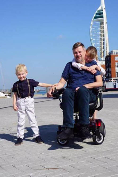 Stephen Lines with children Daisy and Noah on a trip to Portsmouth in September.