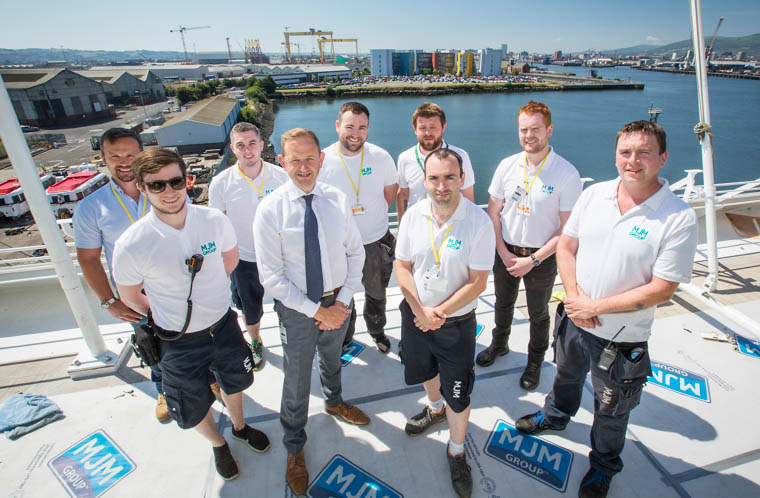 Members of the MJM Group Design, Quantity Surveying and Contracts Management teams with CEO Gary Annett, (front row, 2nd left) onboard the Azamara Pursuit which MJM Group is currently refitting at Harland & Wolff in Belfast.