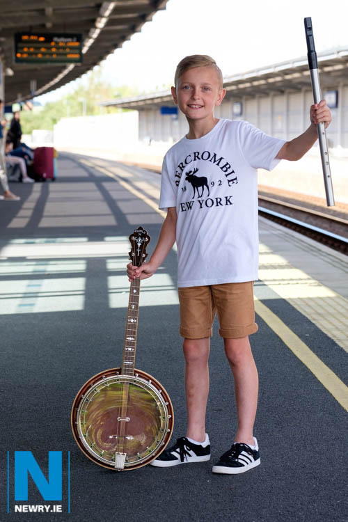 Young musician, Matthew Smith is pictured getting ready for the inaugural Trad Train service from Dublin to Newry and back on Saturday 8 September.