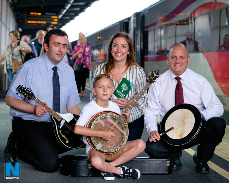 Pictured putting in a bit of practice before the Trad Train event are, from left: Brian Goodfellow, Rail Events Coordinator; Young musician, Matthew Smith; Lyndsay Orr, Enterprise Product Manager, and Eddie Campbell, Cross Border Supervisor. Photograph: Columba O'Hare/ Newry.ie