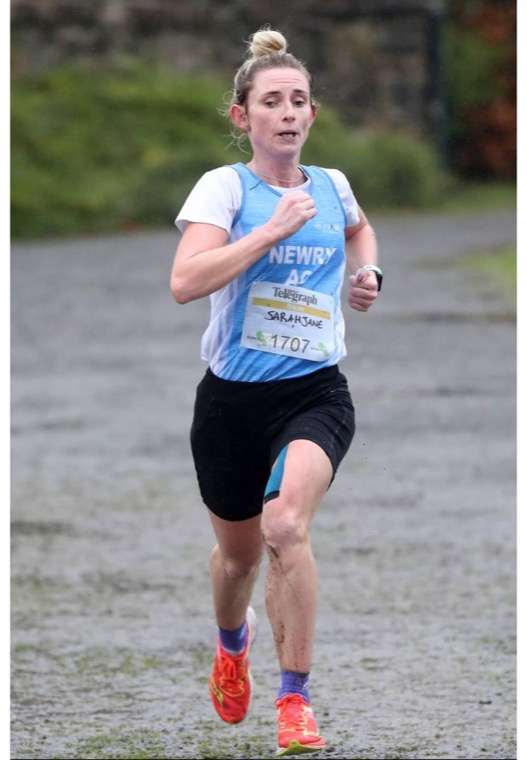 Sarah Jane Beattie racing at the Born2Run 5k race in Loughgall Country Park