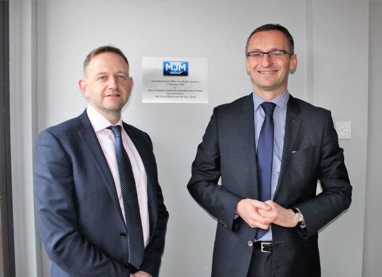 MJM Group has opened an office in Pruszcz Gdanski, Poland.  Pictured at the official opening are MJM Group CEO, Gary Annett and Mayor of Pruszcz Gdański, Mr Janusz Wróbel.