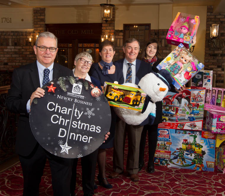 Pictured are (l-r): Colm Shannon, CEO Newry Chamber, Gladis Thompson, Salvation Army Newry, Micheal Murphy, St Vincent de Paul, Louise Young, Canal Court Hotel, Jessica Kane, Newry Chamber.
