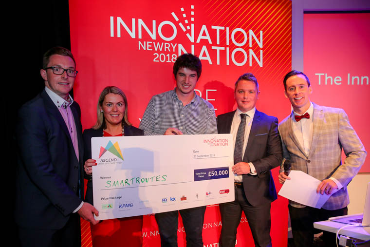 Pictured at the Innovation Nation dinner in Newry Town Hall are: Garrett O'Hare from Flexi Work Space, Ashleen Feeney, Director at KPMG; Calvin O'Callaghan, founder of SmartRoutes; Kevin McGivern from Kx; host Connor Phillips.
