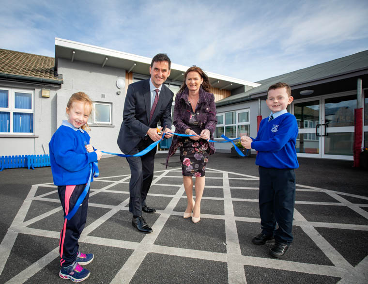 Pictured at the official opening of the £1.5M refurbishment at Killean Primary School were from left: Pupil, Nicole McNamee; Derek Baker Permanent Secretary Department of Education,; Louise Campbell Principal Killean Primary School and pupil Dáibhi Carr.