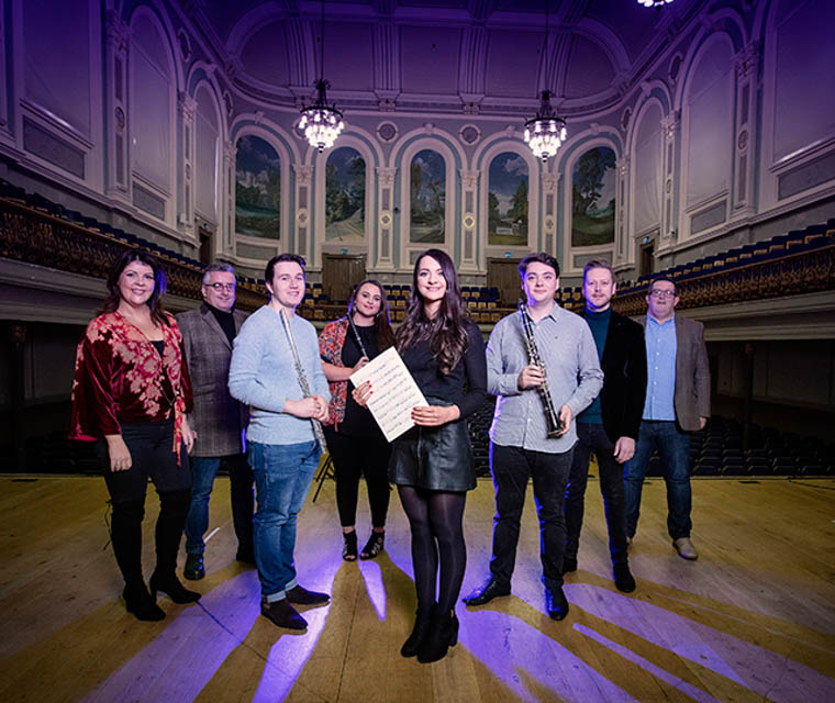 Pictured announcing the awards are from left: Lynette Fay, BBC NI traditional music mentor; Linley Hamilton, BBC NI jazz mentor; Andrew Douglas, Martha Guiney, Katharine Timoney, William Curran, Ciaran Scullion, Arts Council and John Toal, BBC NI classical mentor.